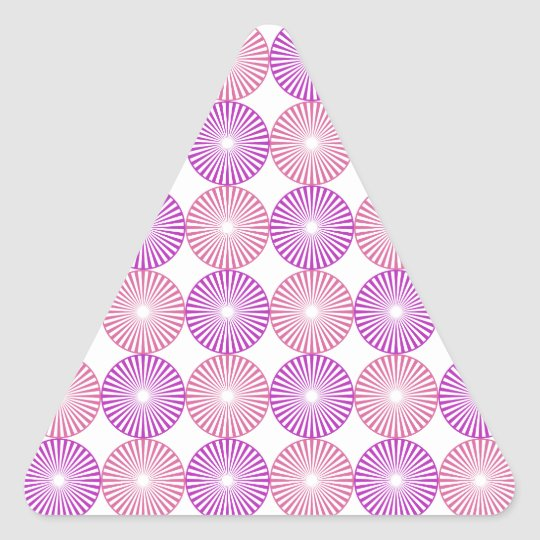 Pink and purple circles pattern triangle sticker