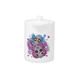 Pink and Purple Circles Sugar Skull Butterflies