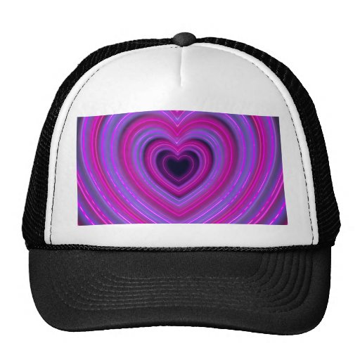 Pink and Purple Cute Girly Neon Hearts Trucker Hat