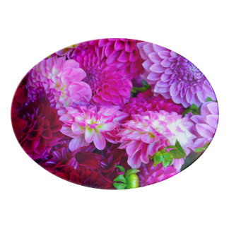 Pink and purple dahlia flowers porcelain serving platter