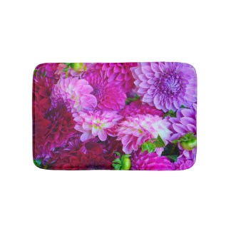 Pink and purple dahlias bath mat
