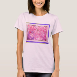 Pink and Purple Dahlias Watercolor T-Shirt