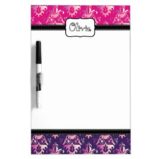 Pink and Purple Damask Pattern Dry Erase Board