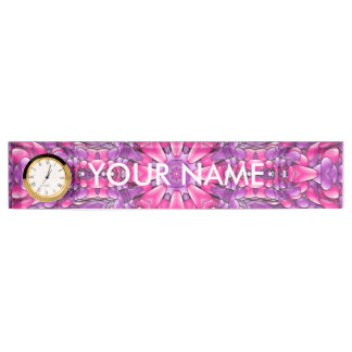 Pink And Purple Desk Nameplate with Clock