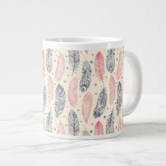 Pink And Purple Ethnic Feather Pattern Large Coffee Mug