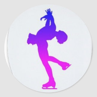 Pink and Purple Figure Skater Round Sticker
