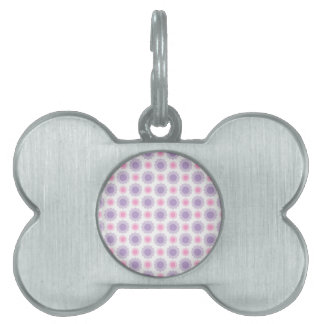 Pink and purple floral pattern pet name tag
