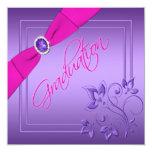 Pink and Purple Floral Photo Graduation Invitation