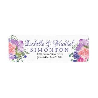 Pink and Purple Floral Return Address Labels