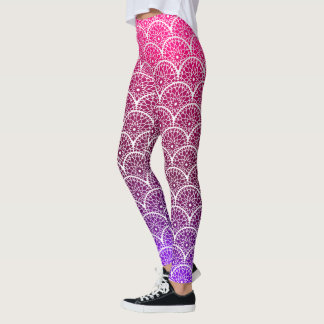 Pink and Purple Floral Scalloped Leggings