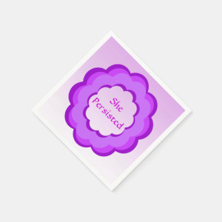 Pink and Purple Flower She Persisted Paper Napkin