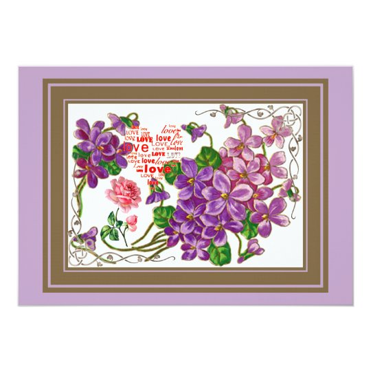 Pink And Purple Flowers Card