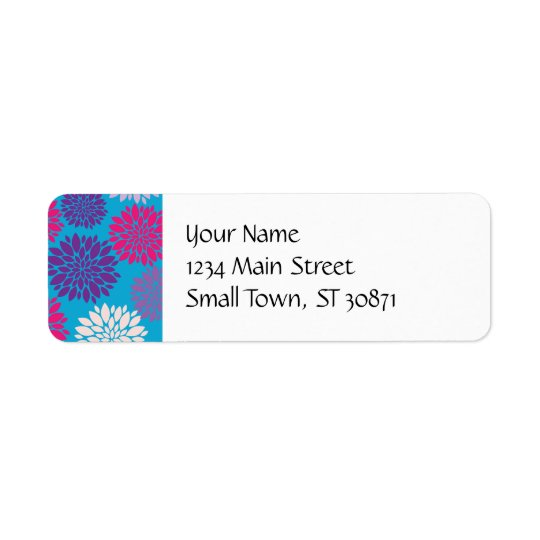 Pink and Purple Flowers on Teal Blue