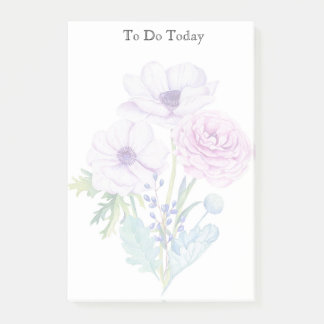 Pink and Purple Flowers To Do List Post it Note