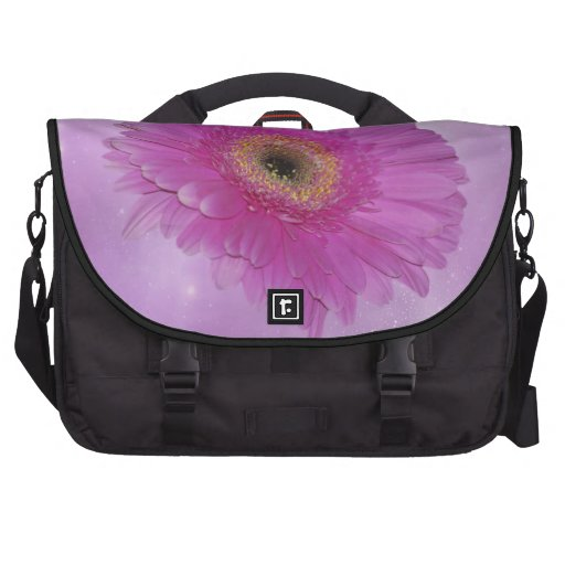 Pink and purple Gerber Daisy Laptop Commuter Bag