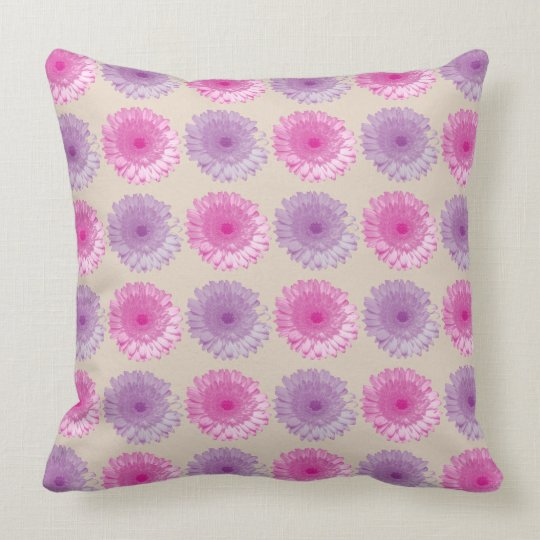 Pink and purple gerber floral pattern throw pillow