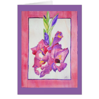 Pink and Purple Gladiola Watercolor Card