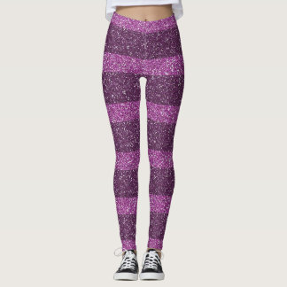 Pink and Purple Glitter Striped Leggings