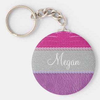 Pink and Purple Glittery Print Basic Round Button Keychain