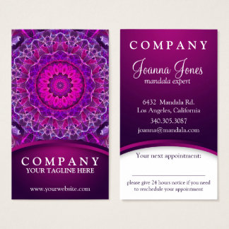 Pink and Purple glowing mandala - appointment Business Card