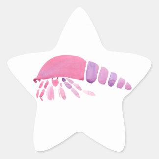 Pink and Purple Hermit Crab Star Sticker