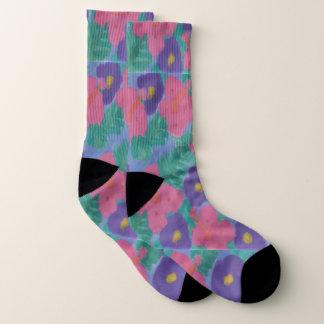 Pink and Purple Hibiscus Print Socks