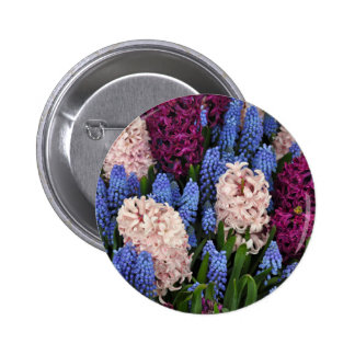 Pink and purple hyacinth flowers 2 inch round button