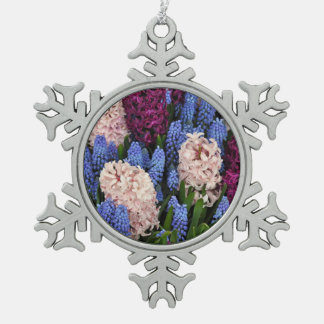 Pink and purple hyacinth flowers pewter snowflake ornament