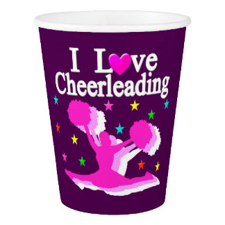 PINK AND PURPLE I LOVE CHEERLEADING PAPER CUPS PAPER CUP