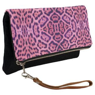 Pink and Purple Jaguar Fur Clutch