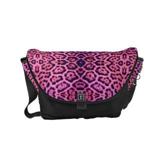 Pink and Purple Jaguar Fur Courier Bag