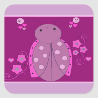 Pink and Purple Ladybug Square Sticker