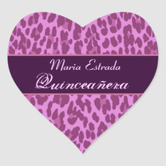 Pink and Purple Leopard  Quinceanera Heart Sticker