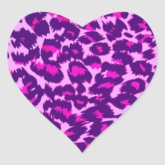 Pink and Purple Leopard Spots Heart Stickers
