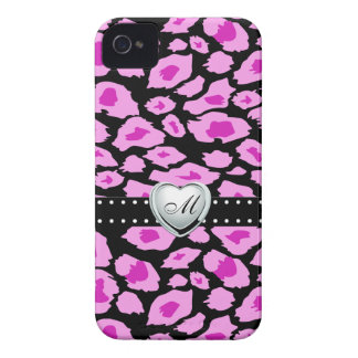 Pink and Purple Leopard Spots with Monogram iPhone 4 Case-Mate Case