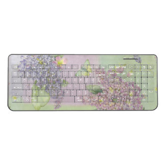 Pink and Purple Lilacs with Butterfly Wireless Keyboard