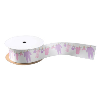 Pink and Purple Little Clothes Baby Shower Satin Ribbon