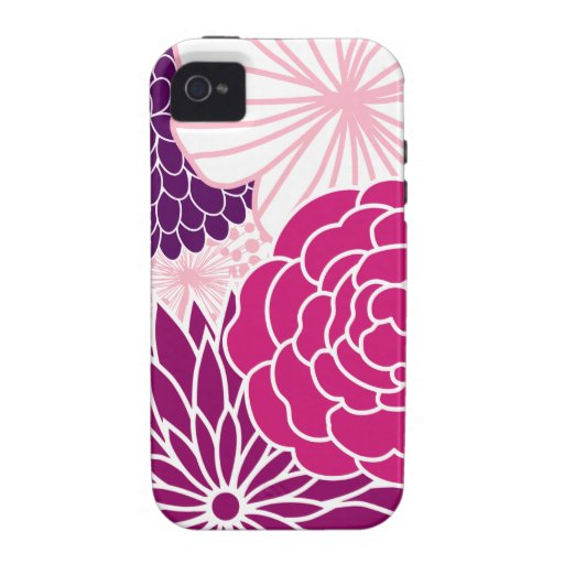 Pink and Purple Mod Floral iPhone 4 Covers