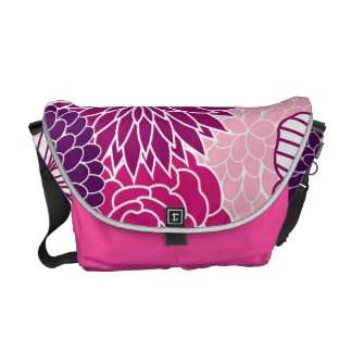 Pink and Purple Mod Floral Messenger Bag