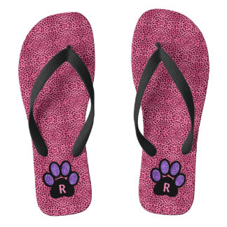 Pink and Purple Monogrammed Cheetah Print Paw Flip Flops