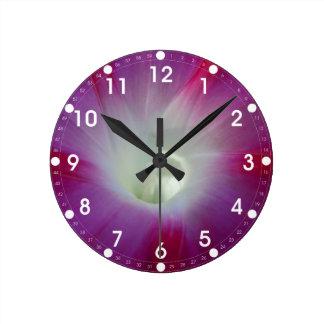 Pink and Purple Morning Glory Wall Clocks