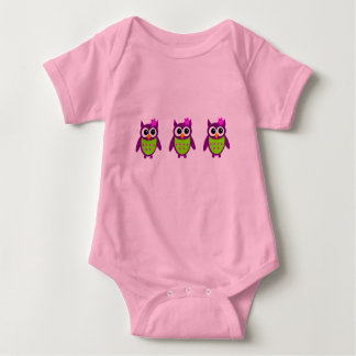 Pink and Purple Owl Baby Wear Baby Bodysuit