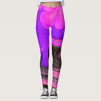 Pink and purple paint leggings