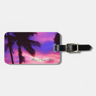 Pink and Purple Palm Sunset Luggage Tag