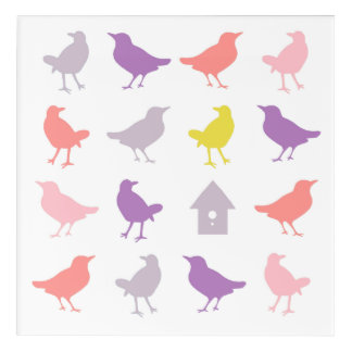 Pink and Purple Pastel Birds with Birdhouse Acrylic Print