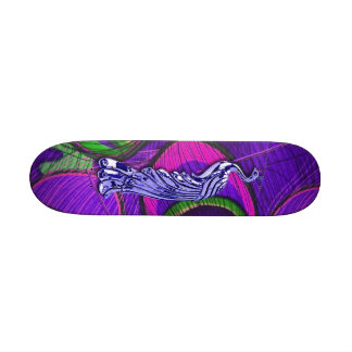 Pink and Purple Peacock Skateboard Deck