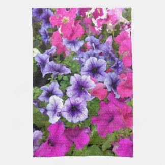 Pink and Purple Petunia Blossom Kitchen Towel