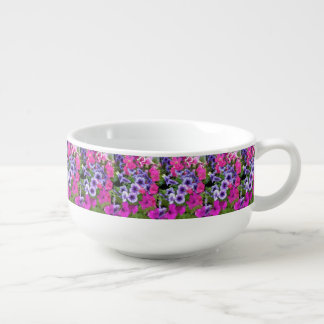 Pink and Purple Petunia Blossom Soup Mug