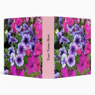 Pink and Purple Petunia Blossom Vinyl Binder