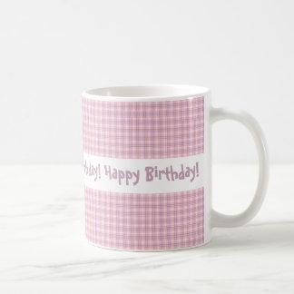 Pink and Purple Plaid Design Happy Birthday Coffee Mug